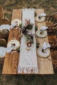 boho chic wedding table setting with Macramé table runner
