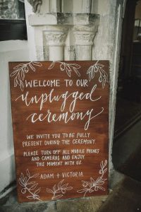 boho unplugged wedding ceremony sign ideas