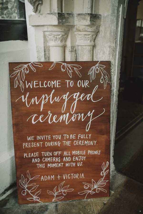 boho unplugged wedding ceremony sign ideas