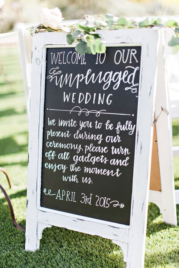 chalkboard wedding sign for unplugged ceremony