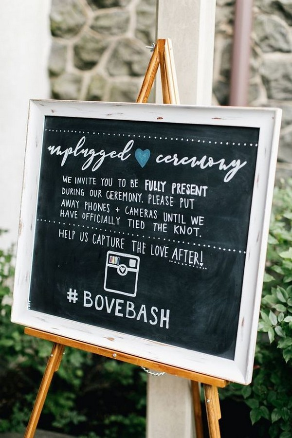 chic chalkboard unplugged wedding sign ideas
