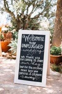 chic chalkboard wedding sign for unplugged ceremony