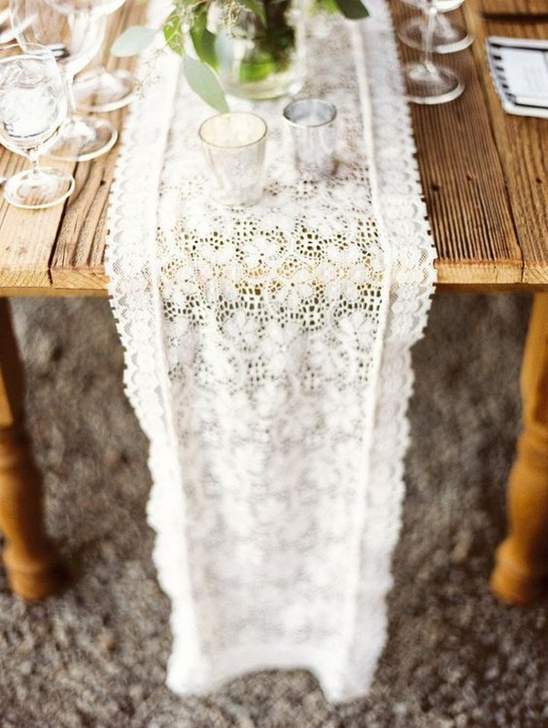 chic lace wedding table runner ideas