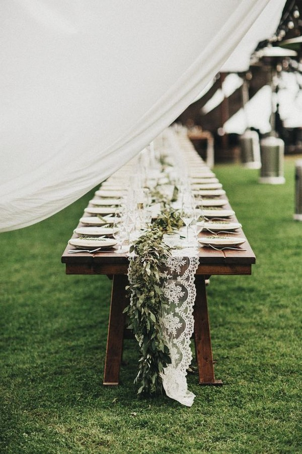 chic outdoor wedding table setting with lace table runner