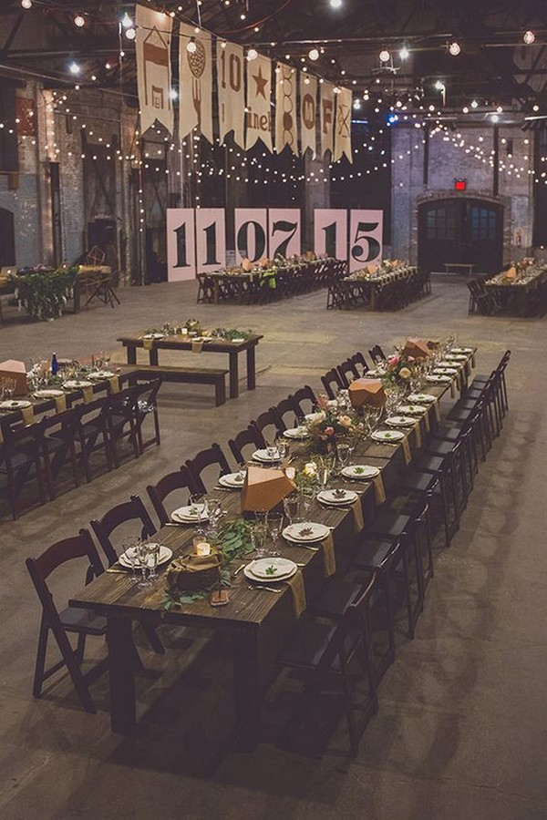 chic vintage loft wedding reception with giant letters