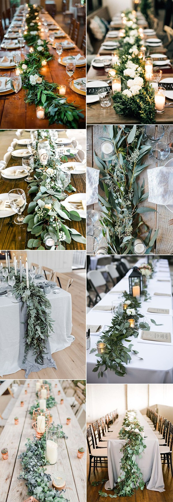 chic wedding table setting ideas with greenery garland