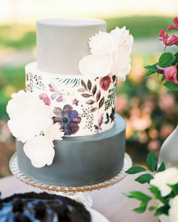 dusty blue and burgundy wedding cake for 2019