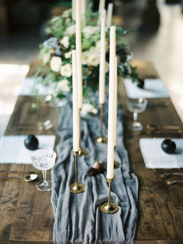 dusty blue wedding table runner ideas