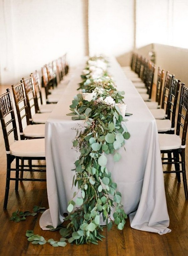 elegant greenery garland wedding table runner