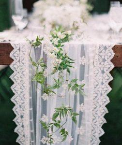 elegant lace drapery wedding table runner