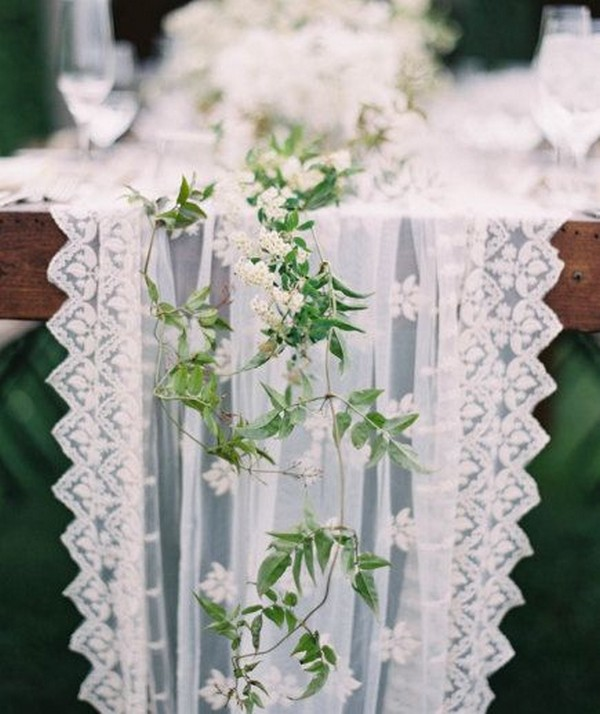 elegant lace drapery wedding table runner