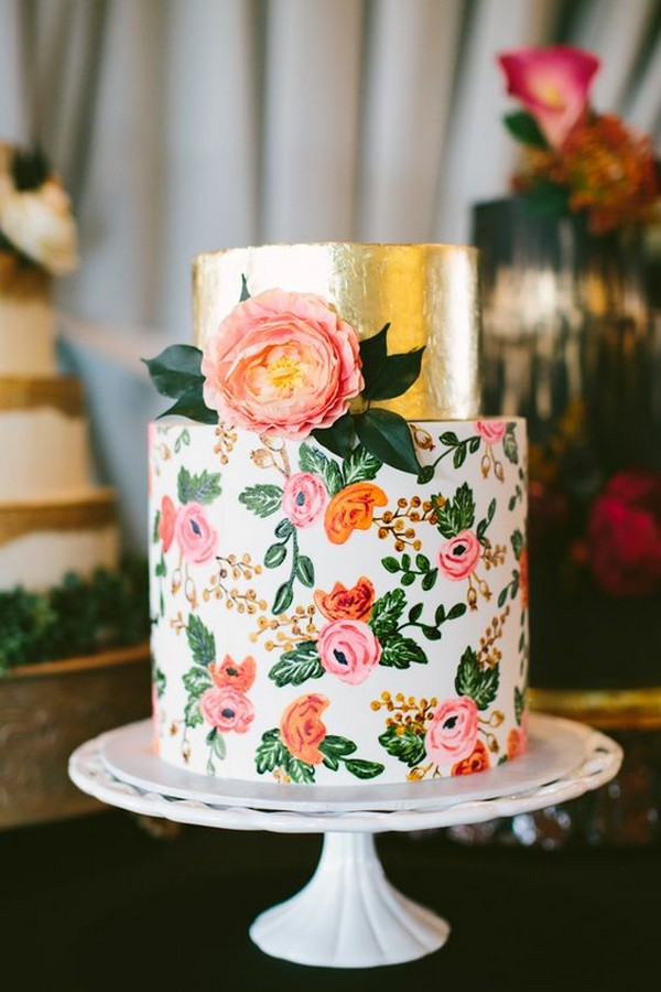 floral hand painted wedding cake