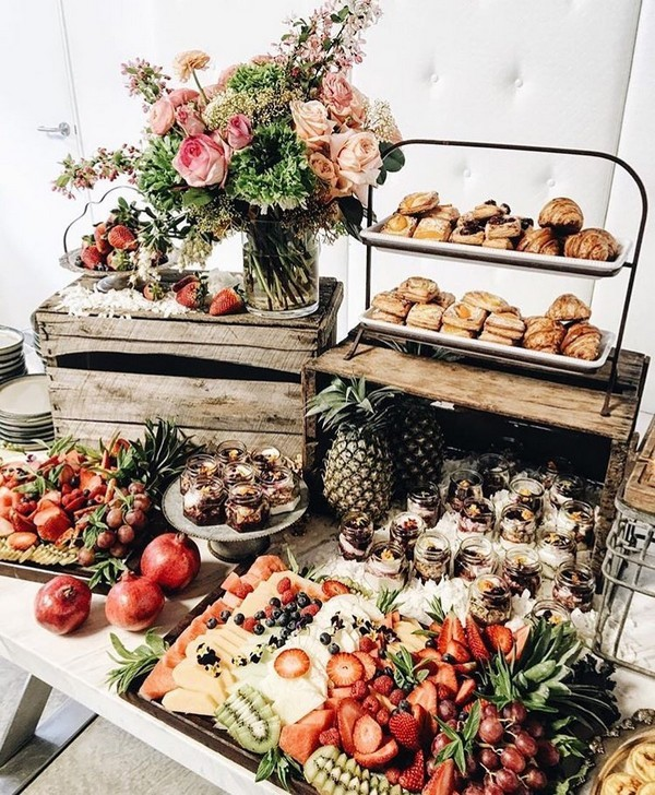 fruits and dessert wedding charcuterie table ideas
