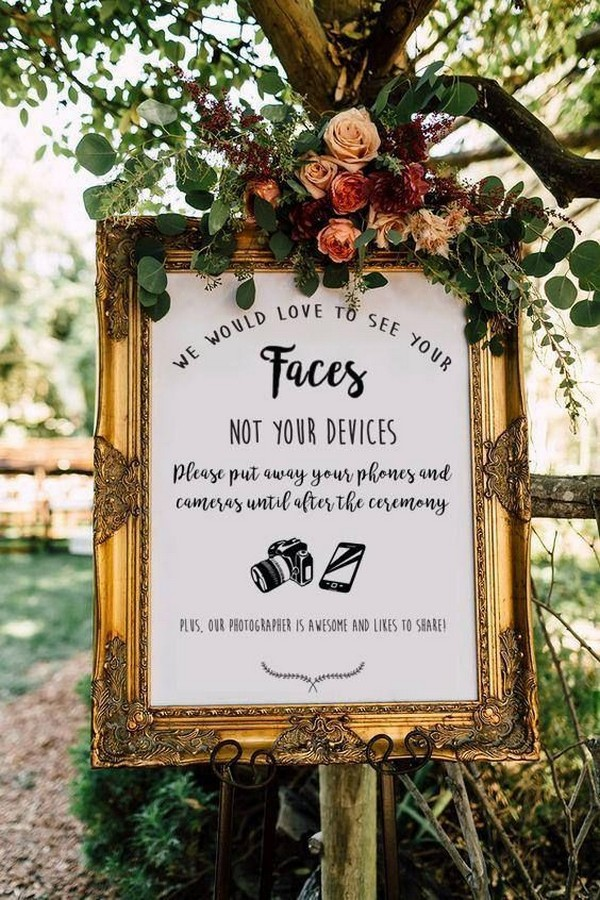 gold framed vintage unplugged wedding sign with floral