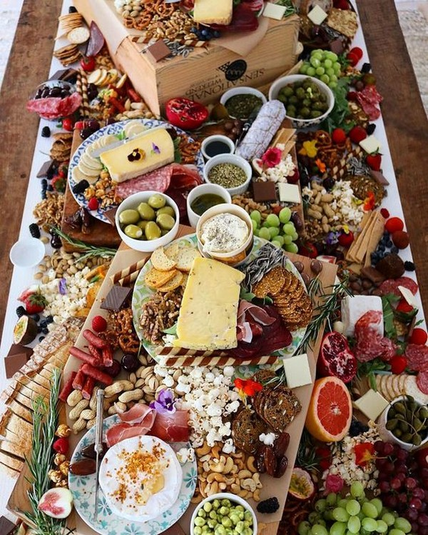 gorgeous charcuterie table for 2019 wedding trends