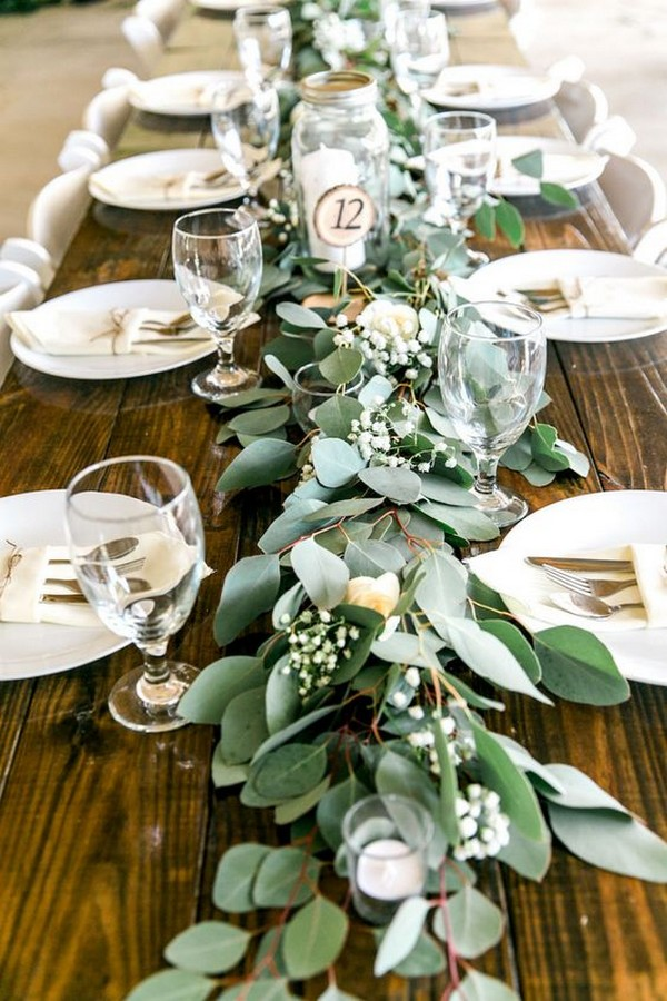 greenery garland table runner for wedding reception