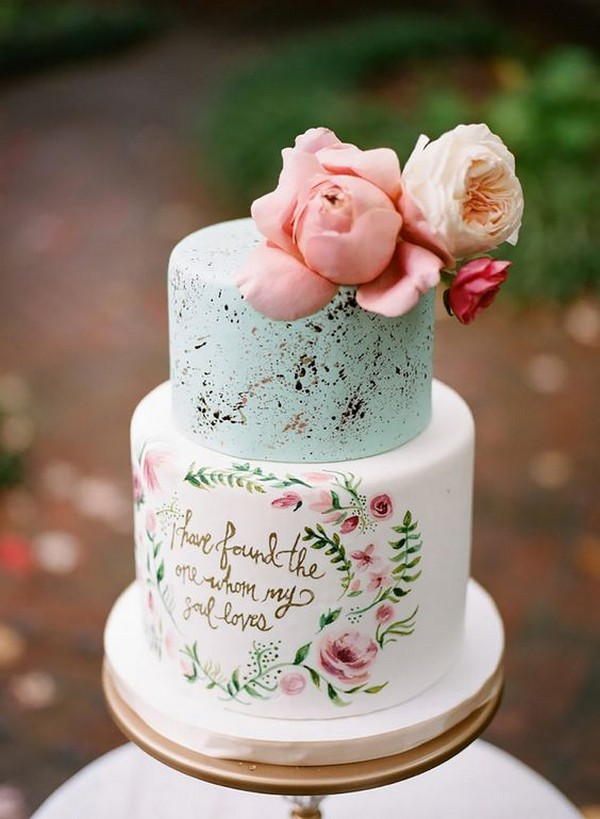 hand painted pink and blue wedding cake ideas