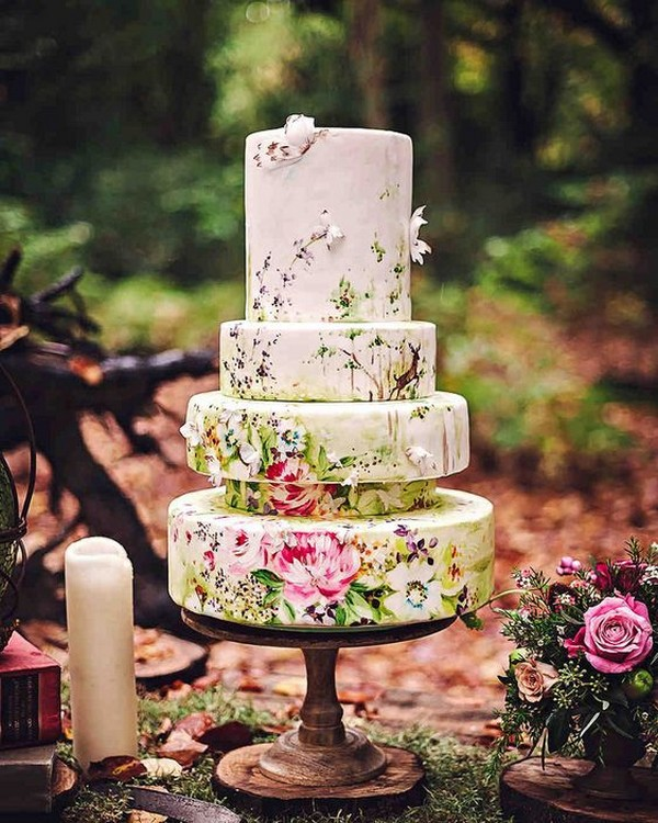 hand painted vintage wedding cake ideas