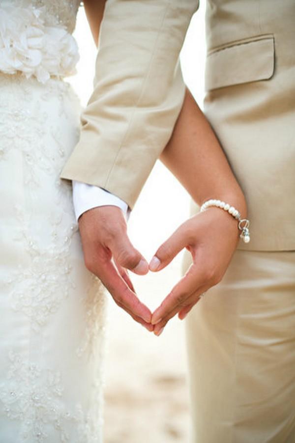 heart bride and groom wedding photo