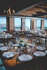 industrial city view loft wedding reception ideas