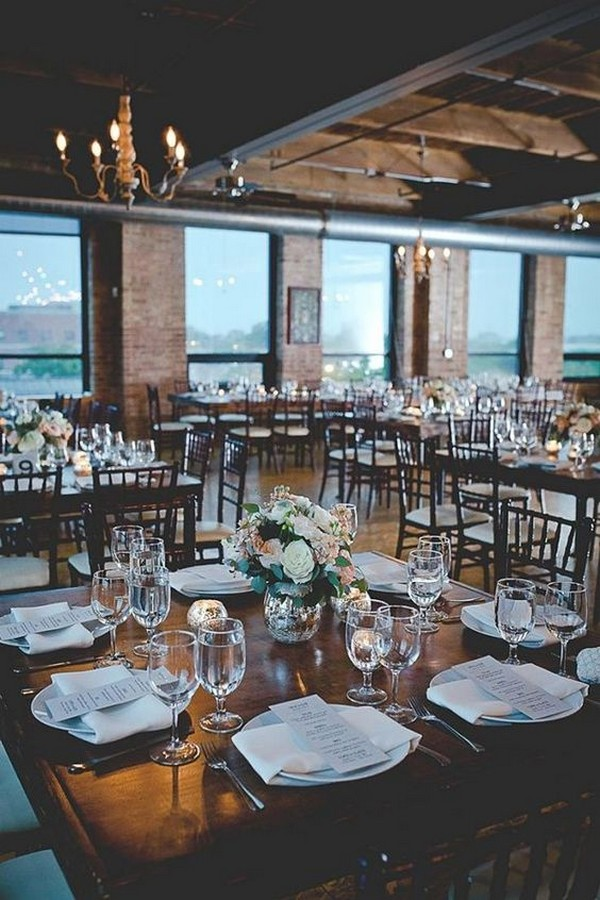 industrial city view loft wedding reception ideas