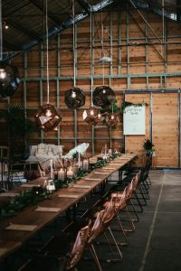 industrial copper wedding reception decoration ideas
