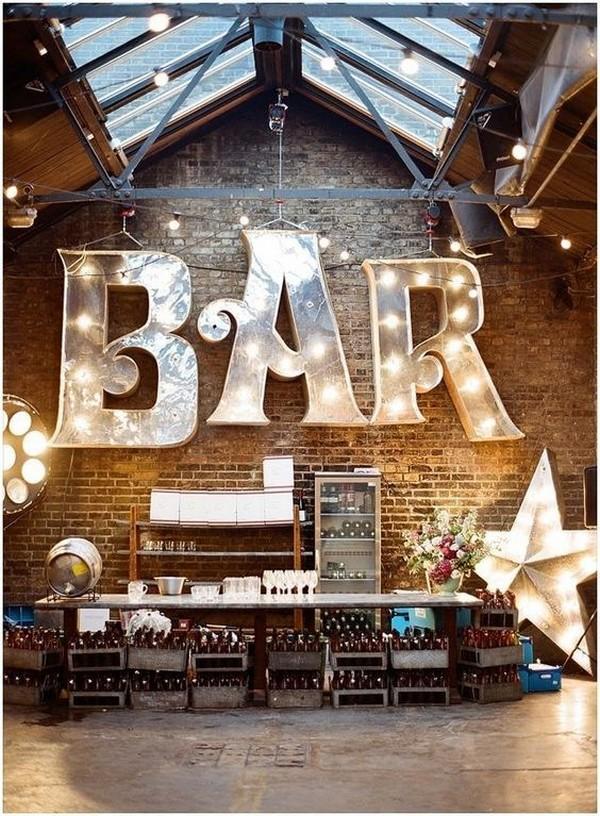 industrial loft super bar wedding set up ideas