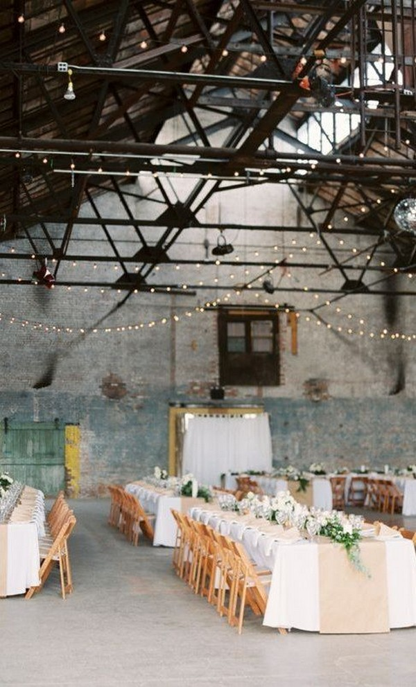 industrial wedding reception ideas with string lights