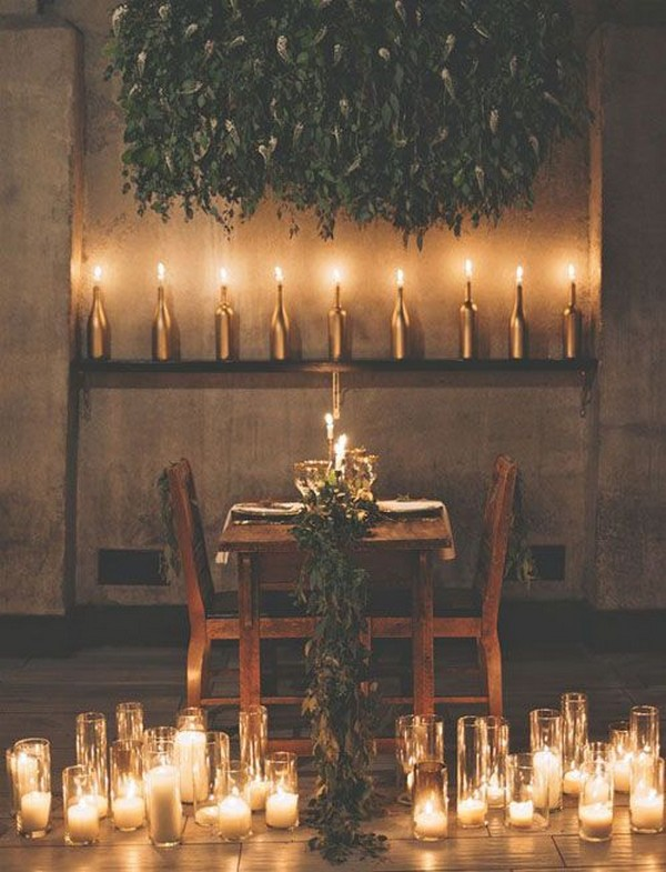 loft wedding reception ideas with candles