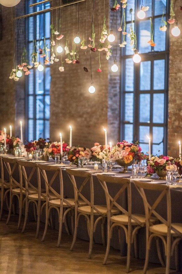 loft wedding reception ideas with floral chandelier