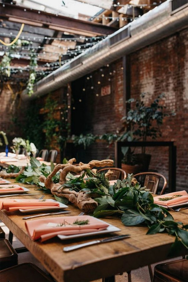 organic industrial wedding reception decoration ideas