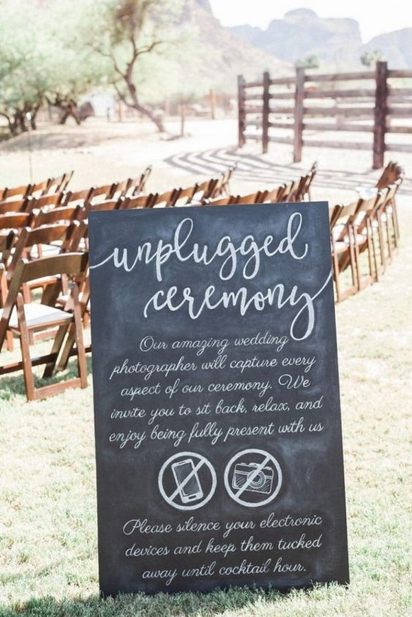outdoor calligraphy unplugged wedding ceremony sign