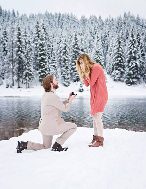 river side winter proposal picture ideas