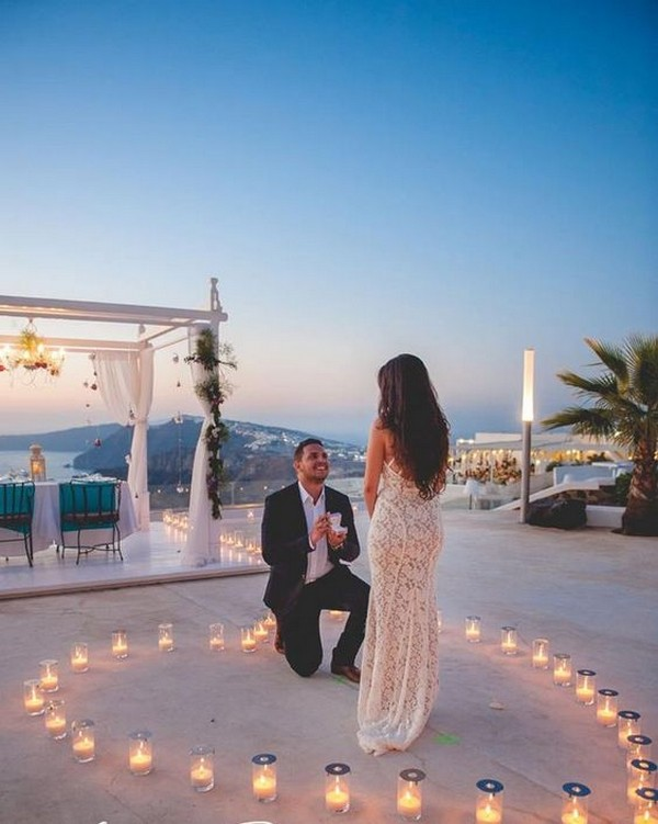 romantic beach proposal ideas in Santorini
