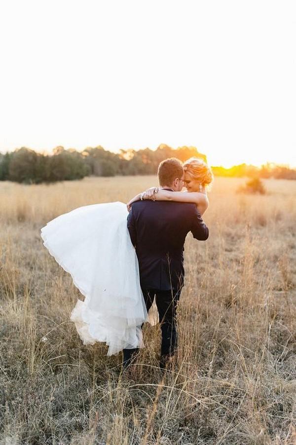 romantic sunset bride and groom wedding photo