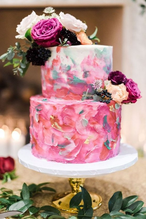 shades of pink hand painted watercolor wedding cake