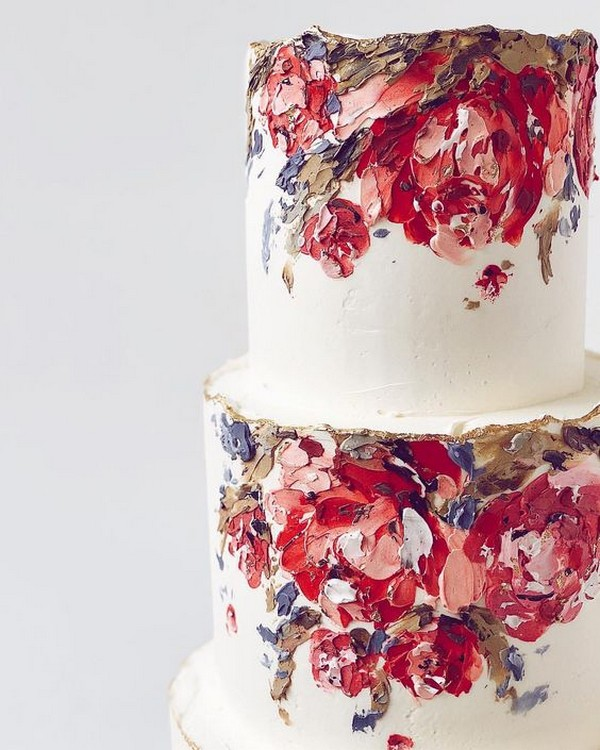 trending hand painted wedding cake ideas