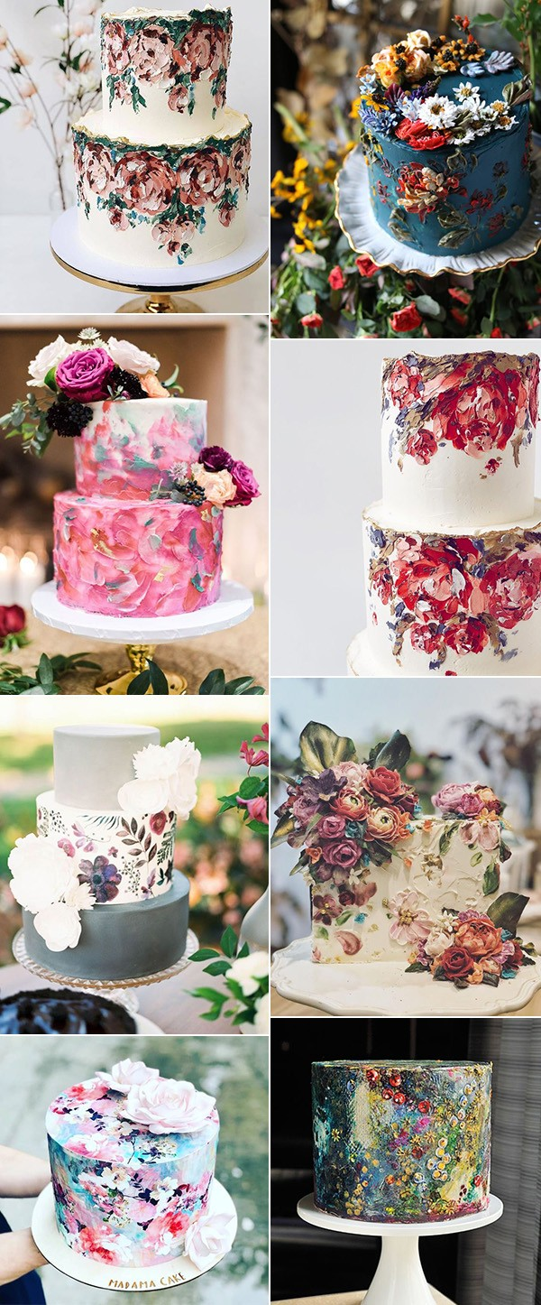 trending hand painted wedding cakes for 2019 trends