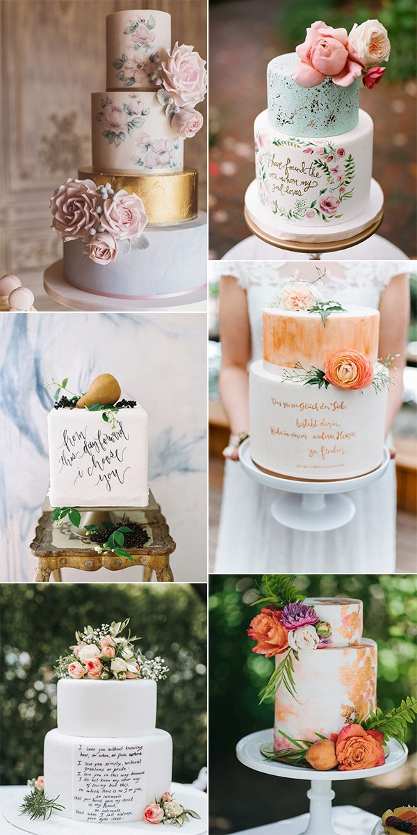 trending hand painted wedding cakes