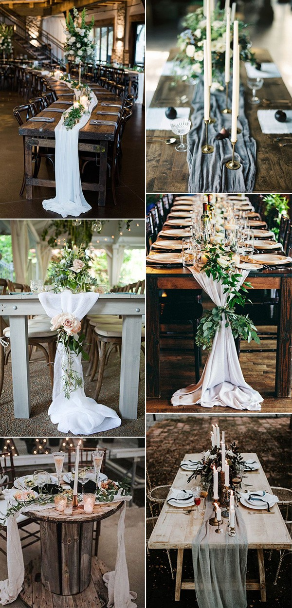 trending wedding centerpiece ideas with fabric table runners