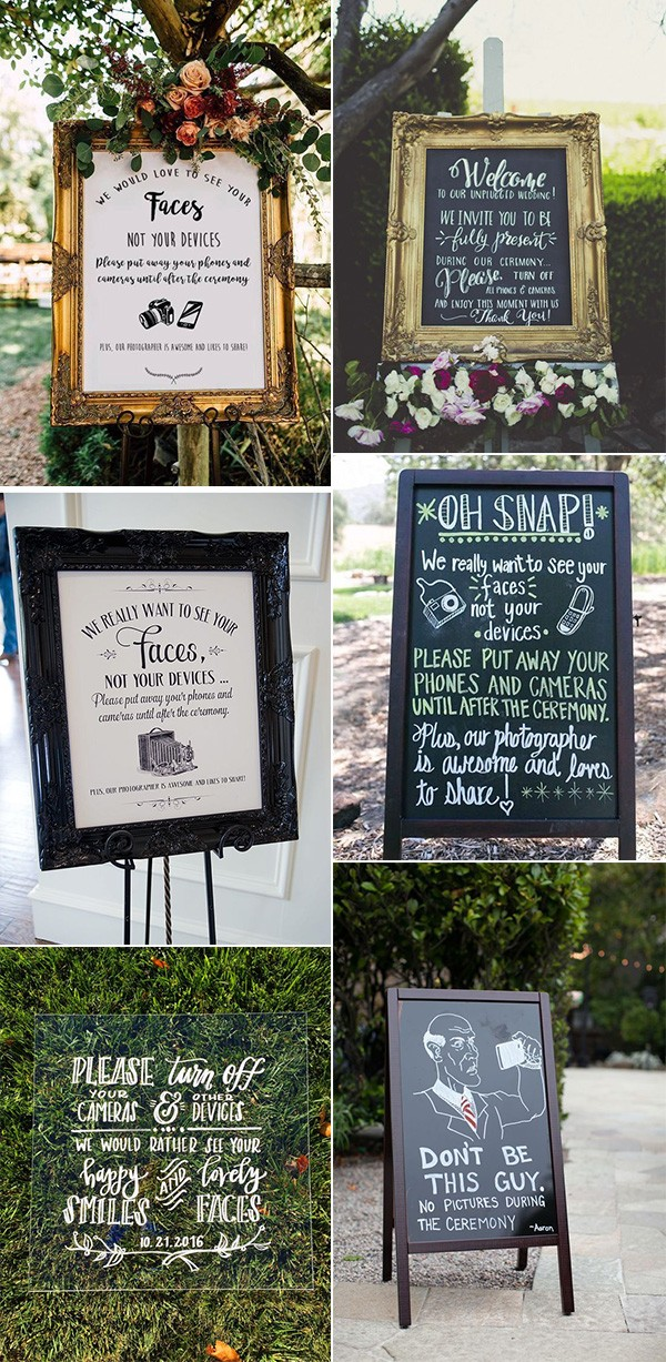 trending wedding sign ideas for unplugged ceremony