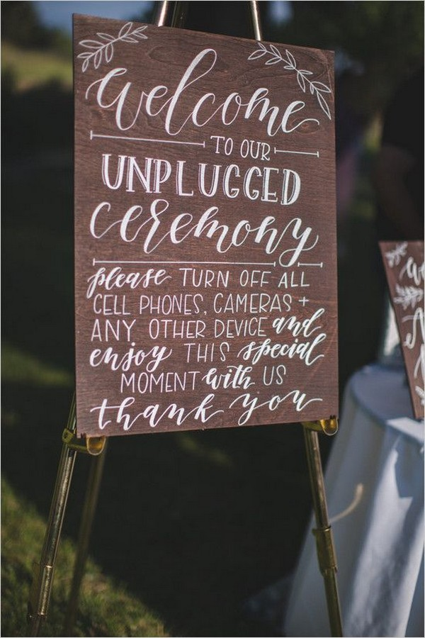 unplugged wedding sign ideas