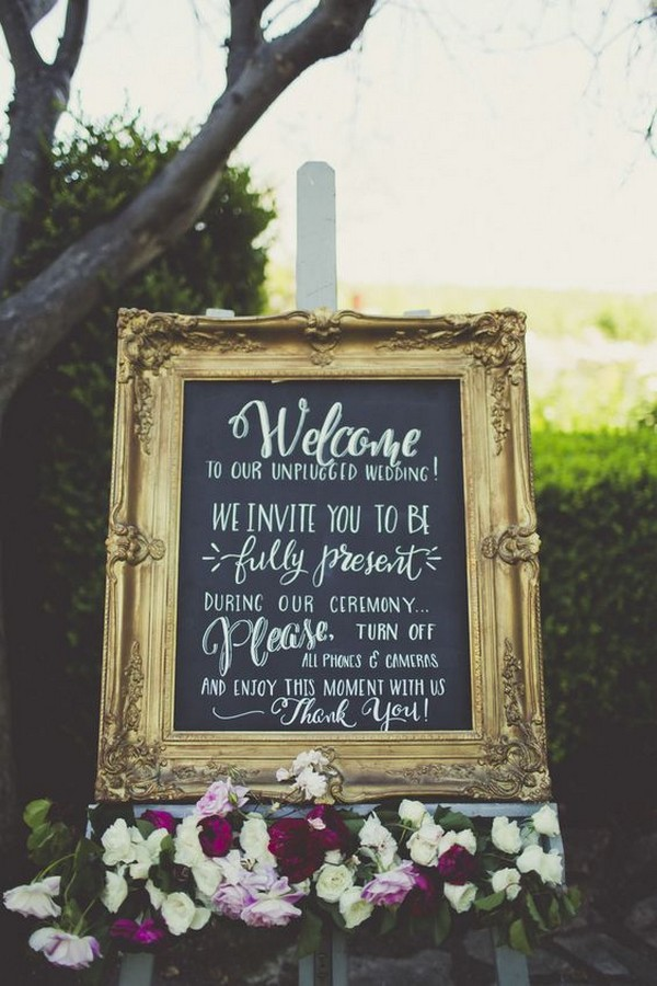 vintage chalkboard unplugged wedding sign