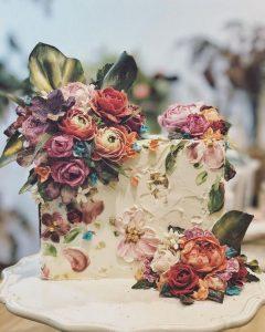 vintage hand painted wedding cake