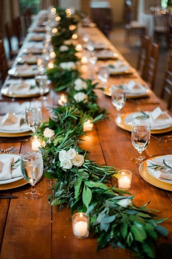wedding centerpiece ideas with greenery garland table runner