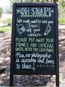 wedding sign ideas for unplugged wedding