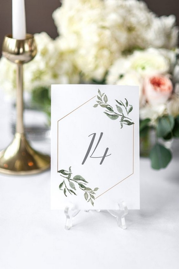 Greenery Eucalyptus Printable Wedding Table Number