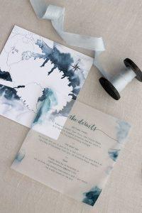 blue watercolor wedding invitation ideas