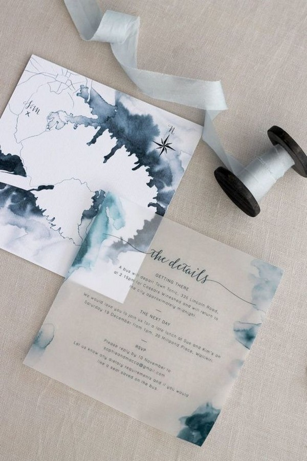 blue watercolor wedding invitation ideas