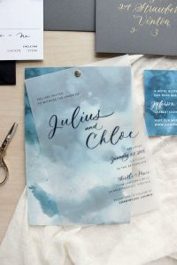 blue watercolor wedding invitations with vellum overlay